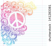 peace sign and love psychedelic ... | Shutterstock .eps vector #141283381