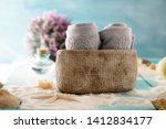 spa and wellness setting with... | Shutterstock . vector #1412834177
