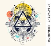 all seeing eye pyramid. zine... | Shutterstock .eps vector #1412919524
