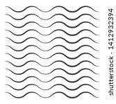 black wavy line pattern vector. ... | Shutterstock .eps vector #1412932394