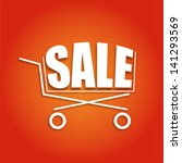sale poster with a basket ... | Shutterstock .eps vector #141293569