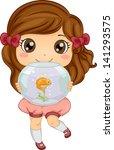 Illustration of Little Girl carrying her Pet Fish an Aquarium - stock vector