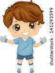 Illustration of Little Boy Soccer Goalkeeper - stock vector