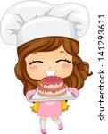 Illustration of Cute Little Girl Baking a Cake - stock vector