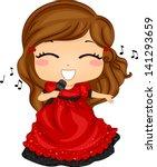 Illustration of Little Girl Singing in Red Dress - stock vector