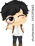 Illustration of a Cute Asian Boy holding a Magnifying Glass - stock vector