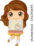 Illustration of a Little Girl Carrying her Pet Hamster in a Cage - stock vector