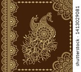 stylized with henna tattoo... | Shutterstock .eps vector #1413029081