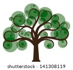 stylized tree with green leaves | Shutterstock .eps vector #141308119
