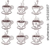 coffee cups. sketch. vector set | Shutterstock .eps vector #141310357