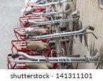 red retro bicycle - stock photo