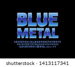 vector 3d blue metal font. set... | Shutterstock .eps vector #1413117341