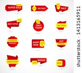 vector stickers  price tag ... | Shutterstock .eps vector #1413165911