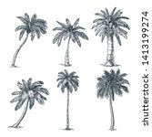 tropical coconut palm trees set ... | Shutterstock .eps vector #1413199274