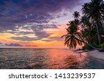 Sunset Dramatic Sky On Sea ...