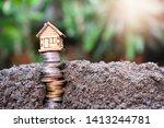 house model on money coins... | Shutterstock . vector #1413244781