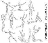 wooden men in different poses... | Shutterstock . vector #1413255671