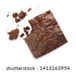 Piece Of Fresh Brownie On White ...