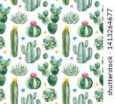seamless pattern with green... | Shutterstock . vector #1413264677