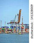 port cargo crane and container... | Shutterstock . vector #141328009