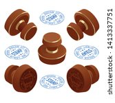 isometric wooden round rubber... | Shutterstock .eps vector #1413337751