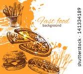 vintage fast food background.... | Shutterstock .eps vector #141334189
