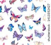 watercolor butterflies vintage... | Shutterstock . vector #1413352427