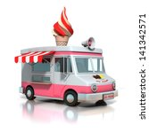 Ice Cream Truck 3d Illustration