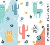 cat and llama cartoon design...   Shutterstock .eps vector #1413465764