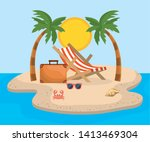 tanning chair with palms trees... | Shutterstock .eps vector #1413469304