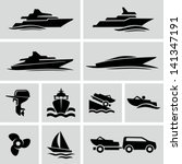 Boat icons - stock vector