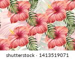 tropical pattern. red pink... | Shutterstock .eps vector #1413519071