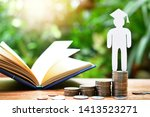 human graduation model on money ... | Shutterstock . vector #1413523271
