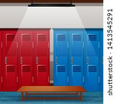 locker room of gym or school...   Shutterstock .eps vector #1413545291