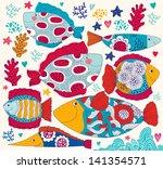 vector cartoon funny fishes....   Shutterstock .eps vector #141354571