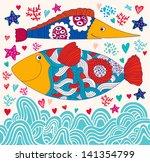 vector cartoon funny fishes.... | Shutterstock .eps vector #141354799