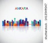 ankara skyline silhouette in...   Shutterstock .eps vector #1413549047