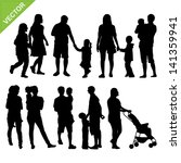 kids and family silhouette...   Shutterstock .eps vector #141359941