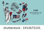 4th of july set. hand drawn...   Shutterstock .eps vector #1413672131