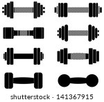 a collection of black dumbbells ... | Shutterstock . vector #141367915