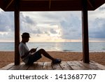 young travel man sitting using... | Shutterstock . vector #1413687707