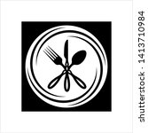 cutlery icon  fork  spoon and... | Shutterstock .eps vector #1413710984