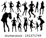 posing woman silhouettes   Shutterstock .eps vector #141371749