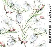 hand drawing watercolor... | Shutterstock . vector #1413758087