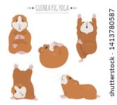 guinea pig yoga poses and... | Shutterstock .eps vector #1413780587