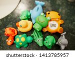 Colorful Rubber Toys On Sink ...