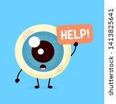 sad suffering sick cute human... | Shutterstock .eps vector #1413825641