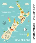 New Zealand Illustrated Map...