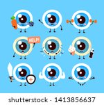 Cute healthy happy and sick sad human eyeball organ character set collection. Vector flat cartoon illustration icon design. Isolated on white background. Eye care character concept