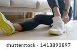 woman wearing sport shoes at... | Shutterstock . vector #1413893897
